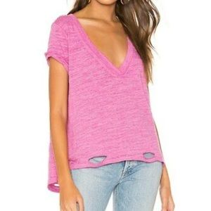 Free People V-Neck Distressed Knit T-Shirt